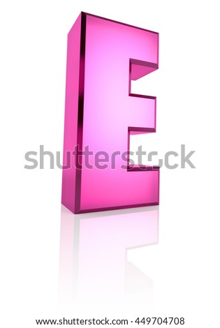 Pink letter E isolated on white background. 3d rendering - stock photo