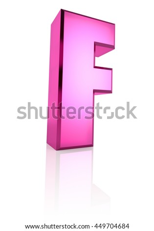 Pink letter F isolated on white background. 3d rendering - stock photo