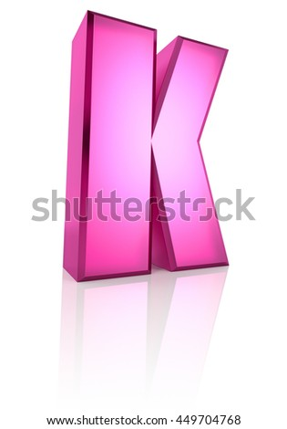 Pink letter K isolated on white background. 3d rendering - stock photo