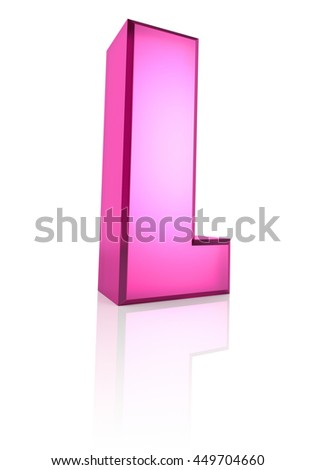 Pink letter L isolated on white background. 3d rendering - stock photo