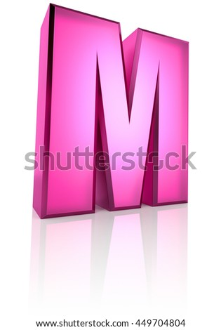 Pink letter M isolated on white background. 3d rendering - stock photo