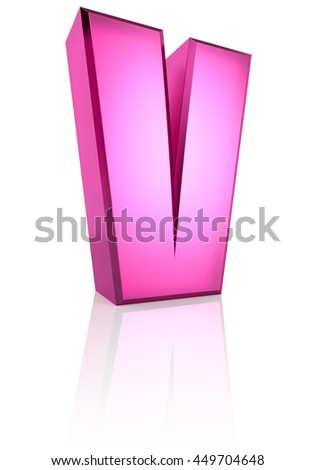 Pink letter V isolated on white background. 3d rendering - stock photo