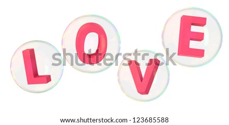 Pink letters love in soap bubbles - stock photo