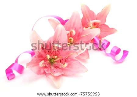 Pink lilies and streamer