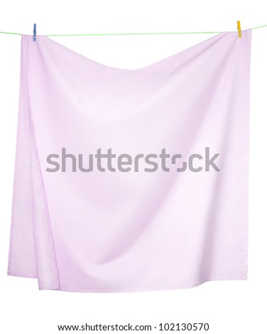 Pink linen sheets drying on a rope, isolated on a white background, with clipping paths - stock photo