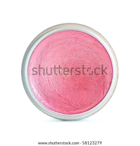 Pink lip gloss in round silver plastic container on white background - stock photo