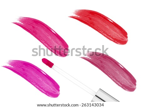 pink lip gloss isolated on white background - stock photo