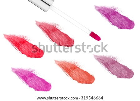 pink lipgloss isolated on white background - stock photo