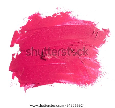 pink lipstick texture on white - stock photo