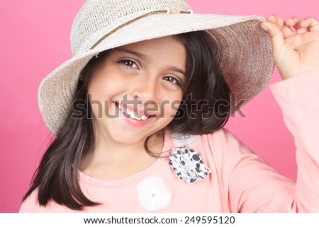 Pink Little girl Hat Planter Touch in front of a pink background