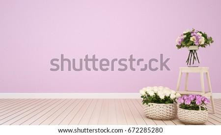 Pink Living Room Coffee Shop Decoration Stock Illustration 672285280 ...