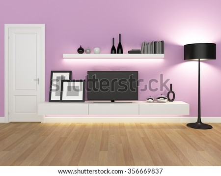 pink living room with tv stand and bookcase - rendering