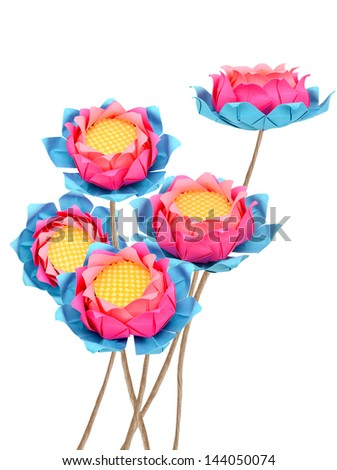 Pink lotus origami bouquet isolated white - stock photo