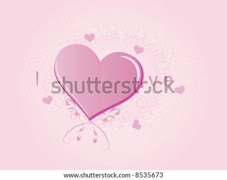 Pink Love Heart with flourishes
