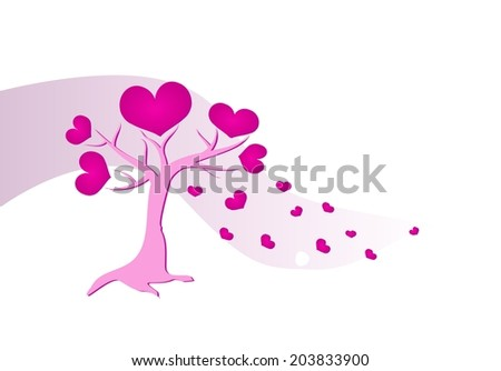 Pink love tree with falling hearts
