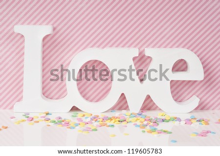 Pink Love Valentine card design with cupcake sprinkles