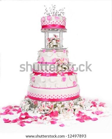 pink lovely wedding cake - stock photo