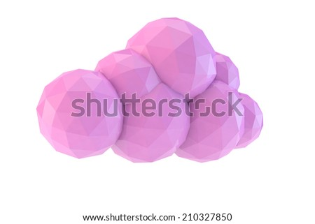 pink low poly of a cloud - stock photo