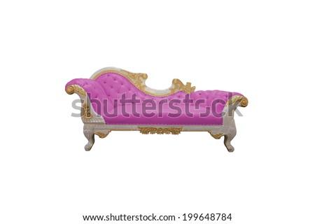 pink Luxurious sofa isolated on white background - stock photo