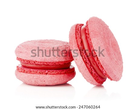 Pink macarons. Isolated on white background