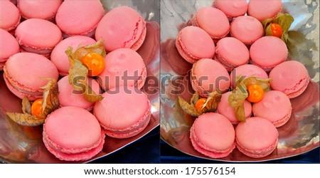 Pink macarons on a plate with physalis - stock photo