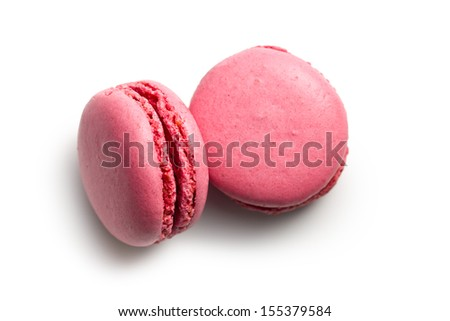 pink macaroons on white background - stock photo