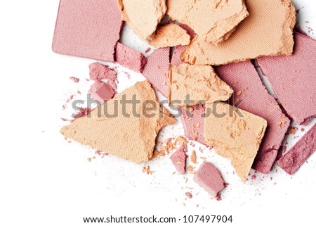 pink make up powder on white background - stock photo