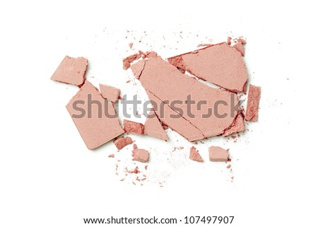 pink make up powder on white background