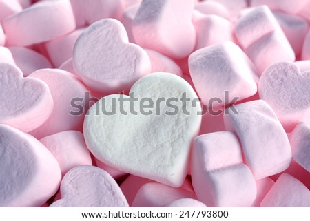 pink marshmallow for Valentine Day with two big shape - stock photo