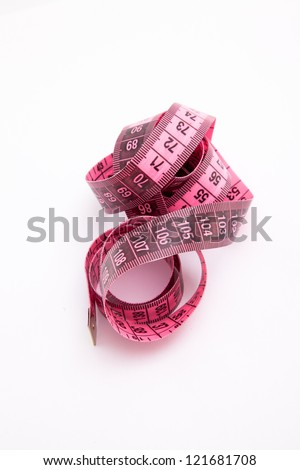 Pink Measuring Tape isolated on white