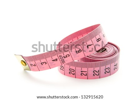 pink measuring tape isolated on white background - stock photo