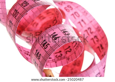 Pink measuring tape isolated over white background
