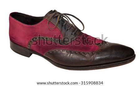 Pink men genuine leather shoes - stock photo