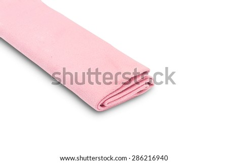 Pink microfiber duster isolated on white background - stock photo
