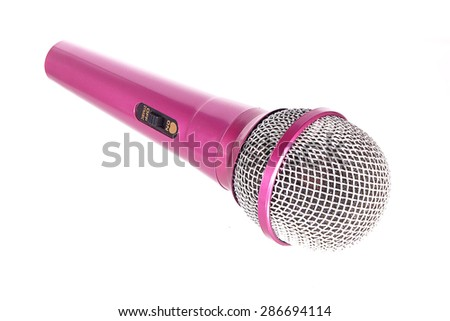 pink microphone on isolate background - stock photo