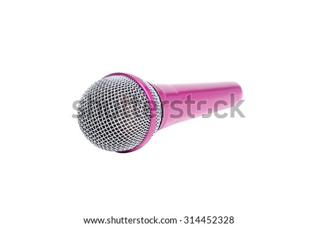 Pink microphone on isolate background