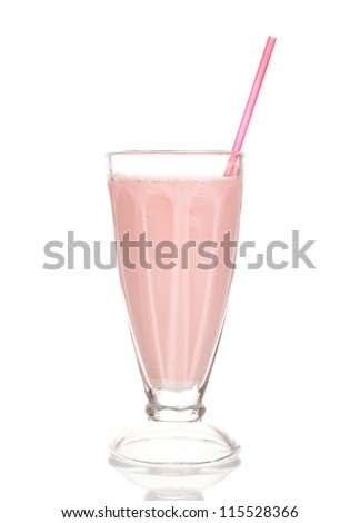 Pink milk shake isolated on white