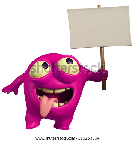 pink monster holding placard - stock photo