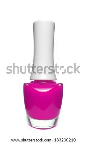 pink nail polish bottle on white background - stock photo
