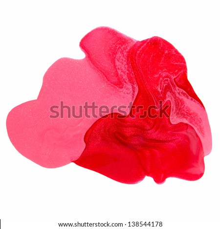 pink nail polish  with splatters isolated on white background