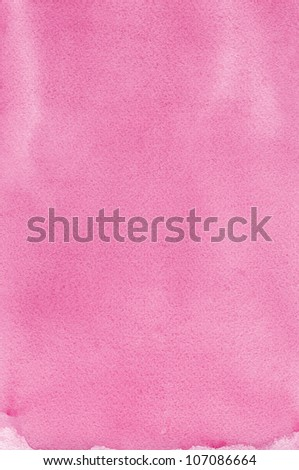 Pink natural handmade aquarelle painting texture, vertical textured watercolor paper macro close up copy space background - stock photo