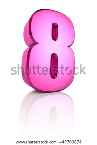 Pink number 8 isolated on white background. 3d rendering - stock photo