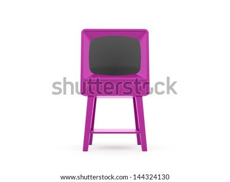 Pink old TV rendered isolated on white background - stock photo