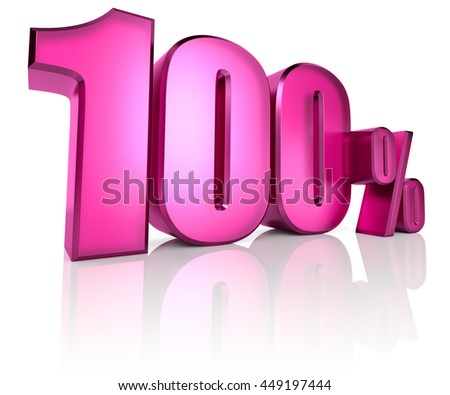 Pink one hundred percent sign isolated on white background. 3d rendering - stock photo