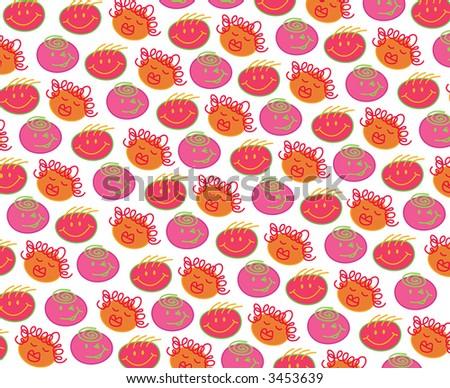 pink orange bubblegum heads (raster) - illustrated cartoon background - stock photo
