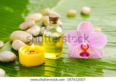 Pink orchid and stones ,oil with burning candle on wet banana leaf