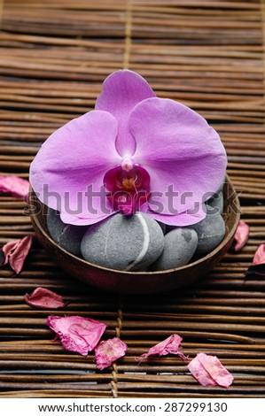 Pink orchid with gray stones in wooden bowl with petals and mat texture  - stock photo