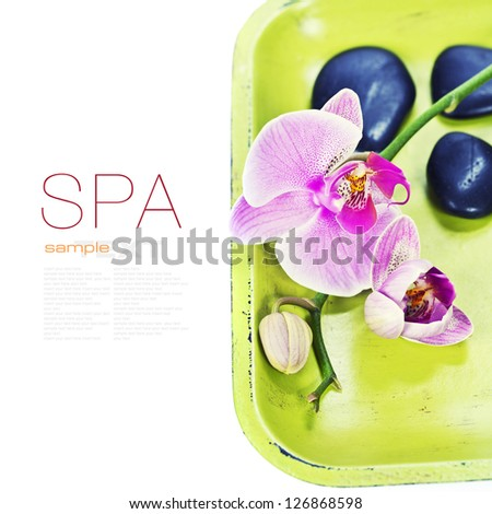 Pink orhid and Zen pebbles on a green bamboo plate. Spa and healthcare concept (with easy removable sample text) - stock photo