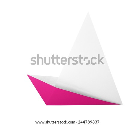 pink origami boat isolated on white background