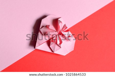 Pink Origami Paper Heart Valentines Day Stock Photo Royalty Free